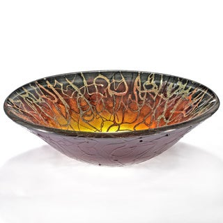 Abstract Blazing Motif Glass Sink Bowl
