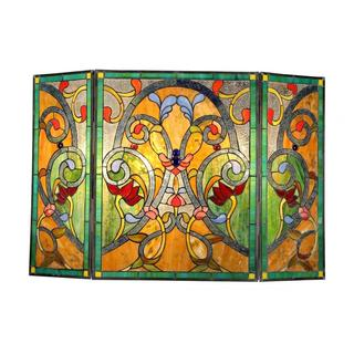 Tiffany-style Victorian Design Fireplace Screen