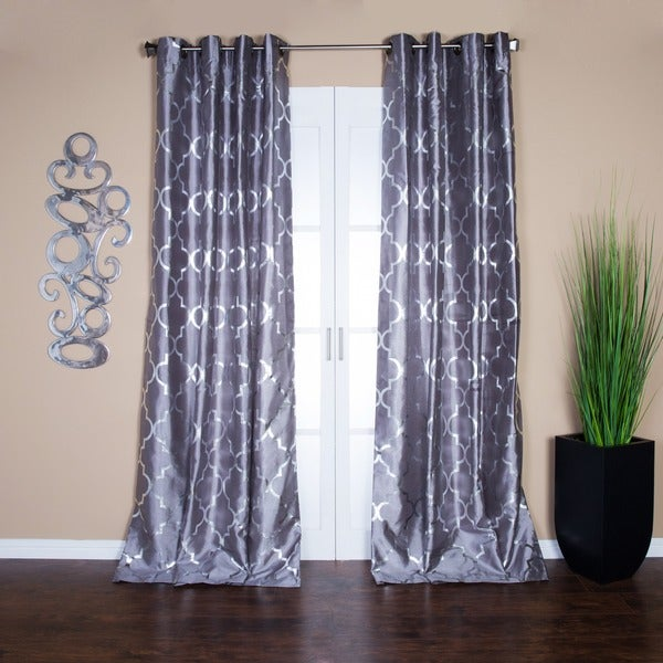 Casablanca Modern Metallic Trellis Pattern Curtain Panel