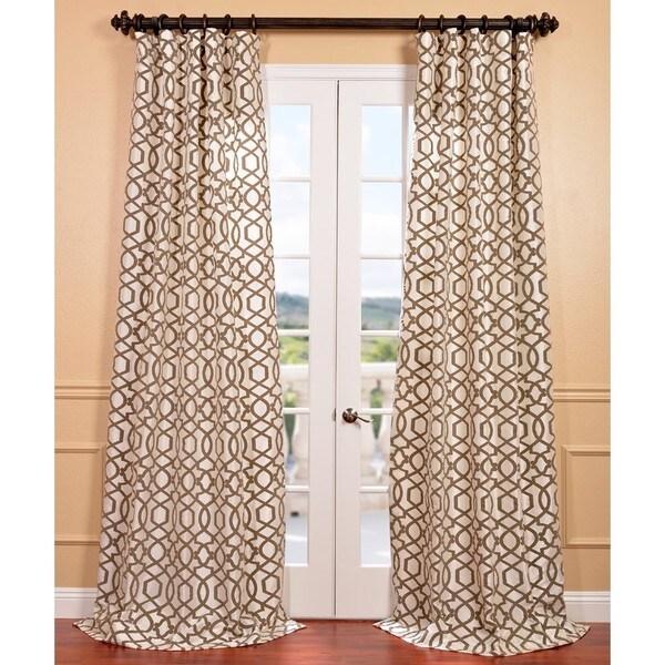 Filigree Pearl Flocked Faux Silk Curtain Panel