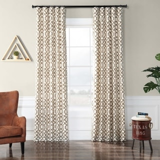 Filigree Pearl Flocked Faux Silk Curtain Panel