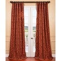 Renaissance Paprika Flocked Faux Silk Curtain Panel