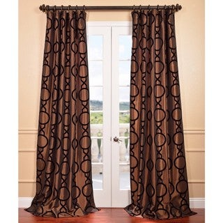 Taurean Copper Flocked Faux Silk Curtain Panel
