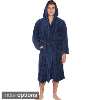 Del Rossa Men's Soft Hooded Fleece Bath Robe