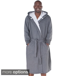 Del Rossa Men's Sweatshirt Style Fleece-Lined Cotton Bath Robe