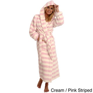 Del Rossa Women's Full Length Hooded Fluffy Fleece Robe