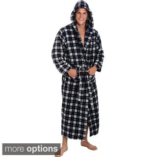 Del Rossa Men's Full Length Hooded Fleece Bath Robe