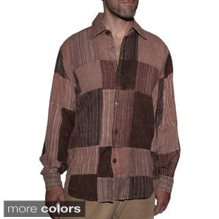 Men's Patch Cotton Buttoned Down Casual Shirt (Nepal)