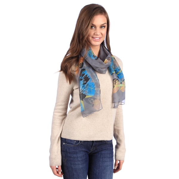 Leisureland Grey Butterfly Design Scarf