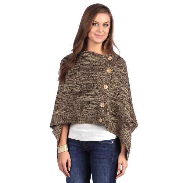Leisureland Brown Wool Yarn Crocheted Shawl