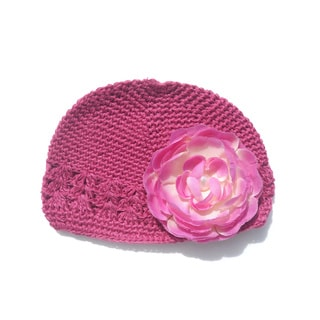 Crochet Hat and Pearl Center Flower Clip