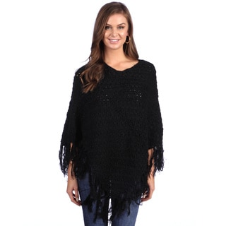 Leisureland Women's Black Hand-crocheted Shawl