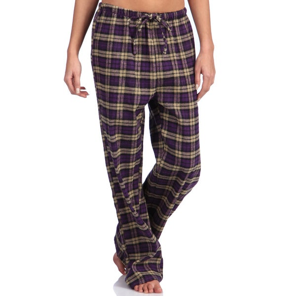 Leisureland Women's Plaid Purple Cotton Sleepwear Lounge Pants