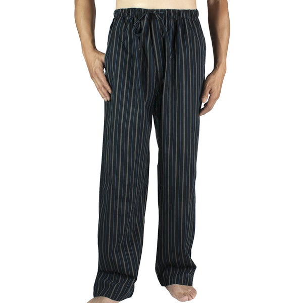 Leisureland Men's Black Stripe Cotton Poplin Pajama Lounge Sleep Pants