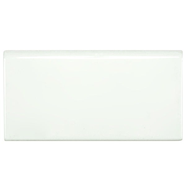 SomerTile Hextile Glossy White Porcelain Bullnose Floor and Wall Tile (Set of 5)