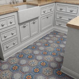 SomerTile 7x8-inch Hextile Basilica Sere Porcelain Decor Floor and Wall Tile