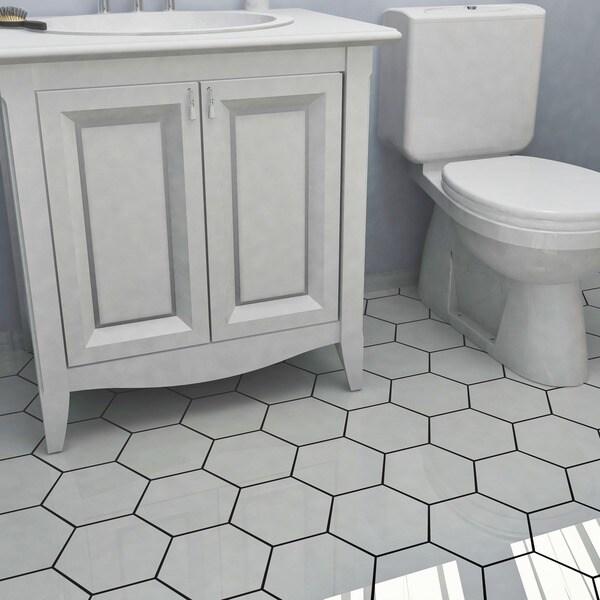 SomerTile Hextile Matte White Porcelain Floor And Wall