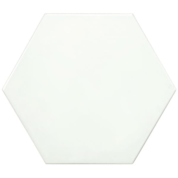SomerTile Hextile Glossy Blanco Porcelain Floor and Wall Tile (Pack of 14)