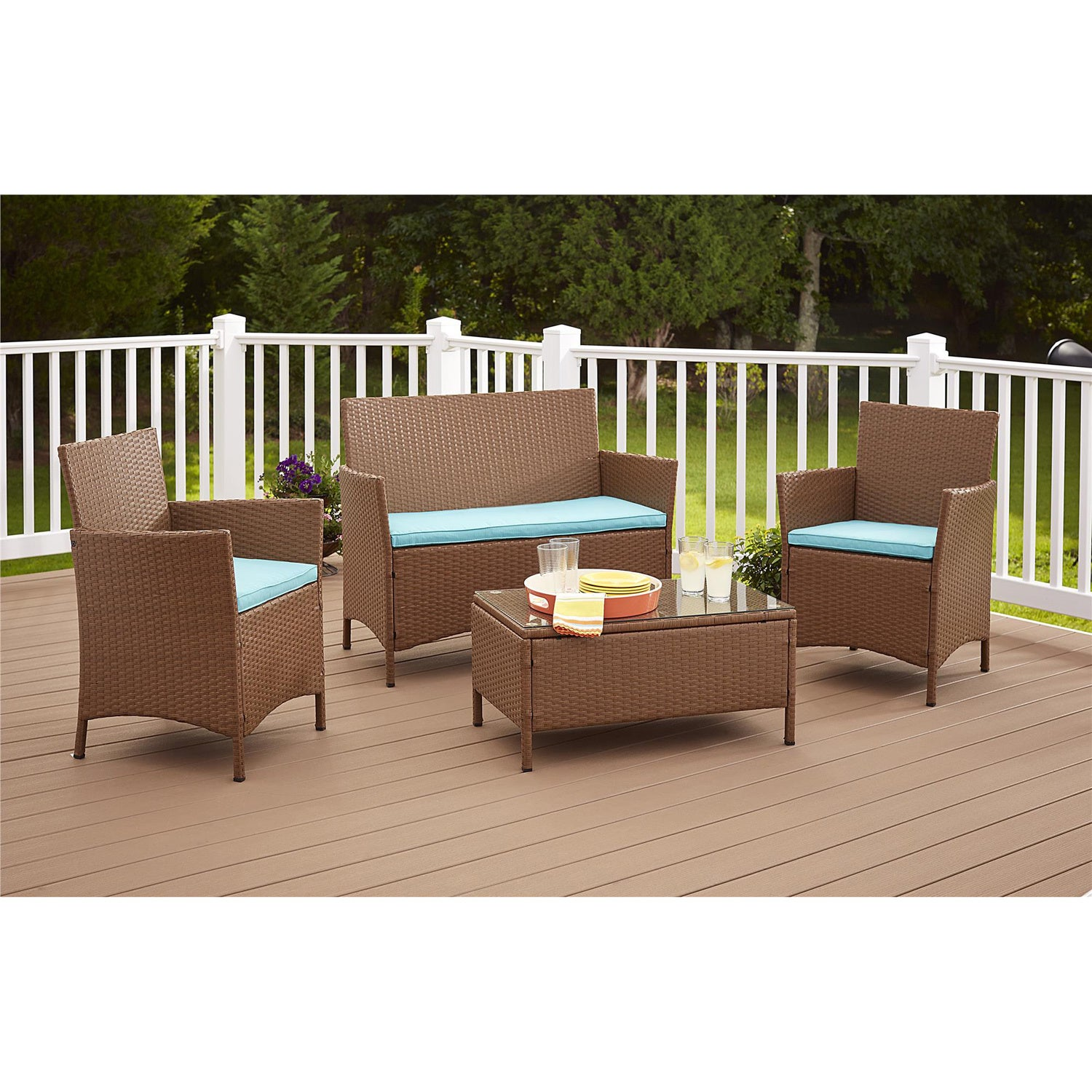 wicker patio set table chairs sofa love seat conversation dining deck