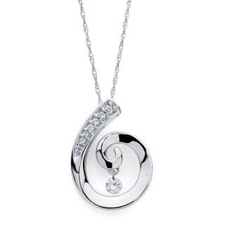 14k White Gold 1/8ct TDW Floating Diamond Swirl Necklace (H-I, I1-I2)