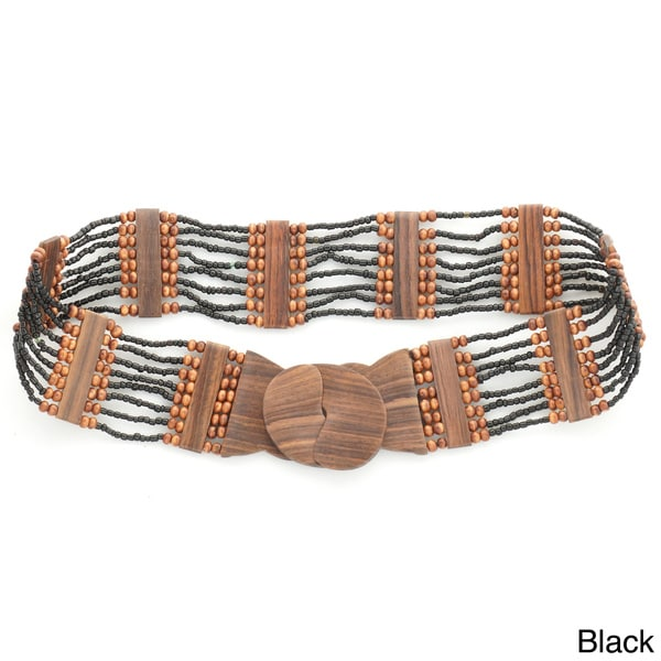 Eight Row Beaded Belt and Wooden Hook Buckle (Indonesia)