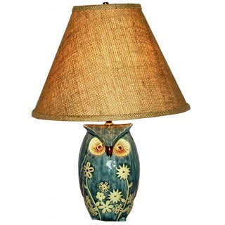 Blue and Brown Porcelain Owl 1-light Table Lamp