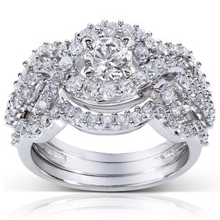 Annello 14k White Gold 1 1/2ct TDW Round Diamond Bridal Ring 3-Piece Set (H-I, I1-I2)