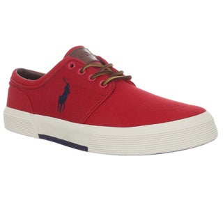 Ralph Lauren Men's 'Faxon' Red/ Navy Canvas Sneakers