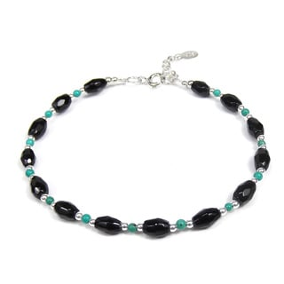Onyx and Turquoise Link Thai Karen Tribe Silver Bracelet (Thailand)