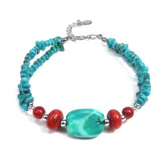 Thai Karen Silver Turquoise Coral Nuggets Bracelet (Thailand)