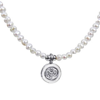 Thai Karen Tribe Silver Aum or Om Medallion Pearl Necklace (Thailand)
