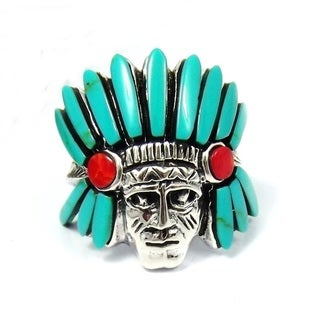 Native American Indian Turquoise and Coral .925 Silver Ring (Thailand)