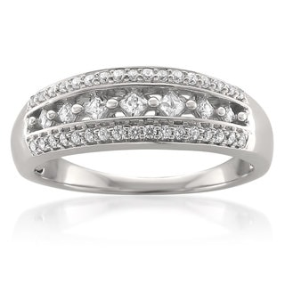 10k White Gold 3/8ct TDW Princess and Round Diamond Band (G-H, I1-I2)