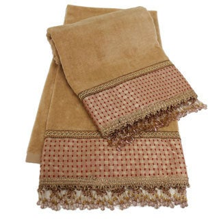 Sherry Kline Chenille Dots Gold 2-piece Embellished Towel Set