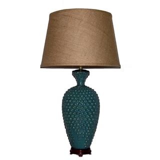 Tall Distressed Blue Hobnail Porcelain Table Lamp with Brown Burlap Shade