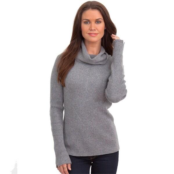 Italian Made Luigi Baldo Women's Italian Cashmere Ribbed Turtle Neck Sweater 11878311