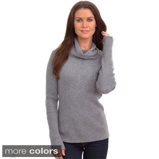 Italian Made Luigi Baldo Women's Italian Cashmere Ribbed Turtle Neck Sweater