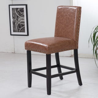 Luxury Cappuccino Faux Leather Barstool with Nail Head