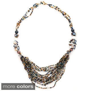 16 Strand Glass Beaded Strand Necklace and Natural Stone Accents (Indonesia)