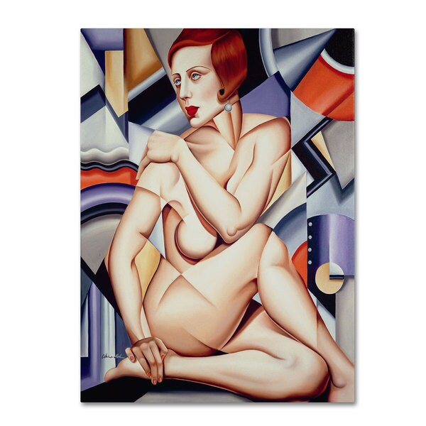 Catherine Abel 'Cubist Nude Orange and Purple' Canvas Art 11878560