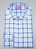 Lorenzo Uomo Blue Gingham Trim Fit Button Down Dress Shirt