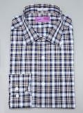 Lorenzo Uomo Navy Plaid Trim Fit Button Down Dress Shirt