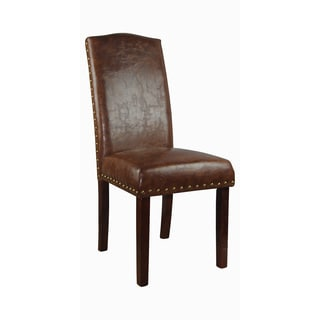Luxury Espresso Faux Leather Parson Chairs (Set of 2)