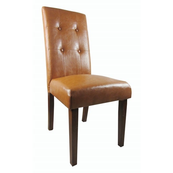 Classic Tan Brown Faux Leather Tufted Parson Chairs (Set of 2)