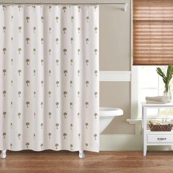 luxury matelasse embroidered palm shower curtain 15743812