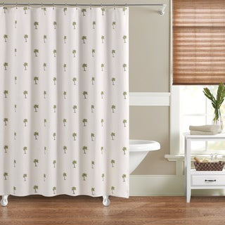 Luxury Matelasse Embroidered Palm Shower Curtain