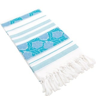 Authentic Pestemal Fouta Blue and White Floral Jacquard Turkish Cotton Bath/ Beach Towel