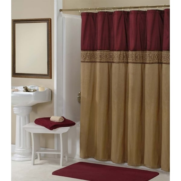 Addison Gold/ Maroon Shower Curtain - 15743831 - Overstock.com ...