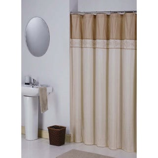 Permanent Shower Curtain Rod Bronze and Cream Curtains