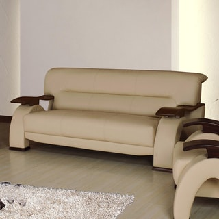 Selina Bonded Leather Cream Modern Sofa